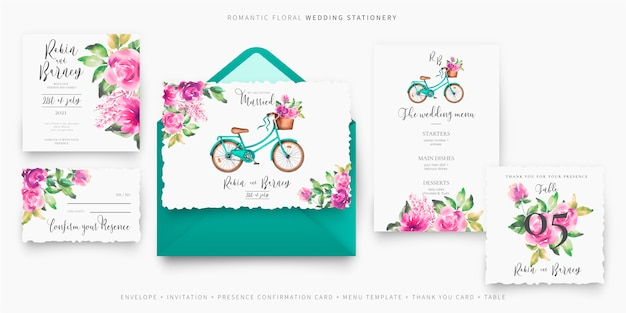 Cute wedding stationery set with bicycle and flowers Free Vector
