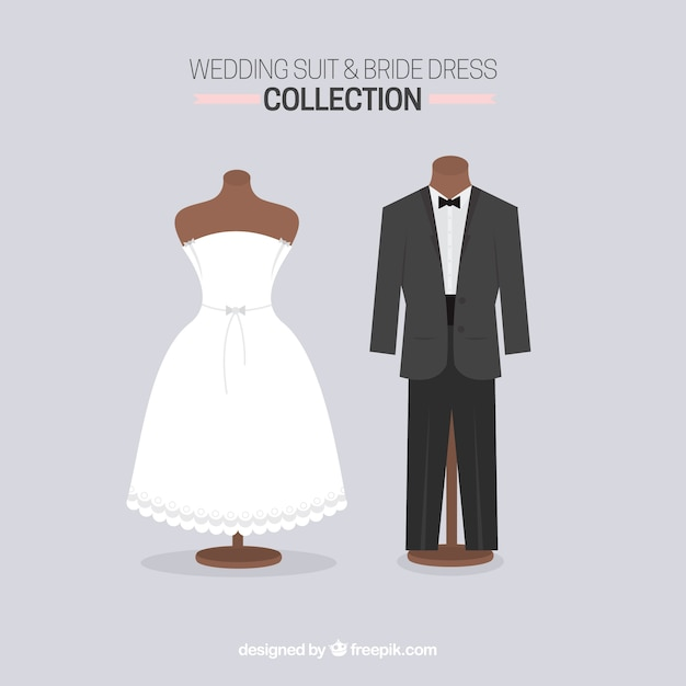 Cute wedding suit and bride dress Vector | Free Download