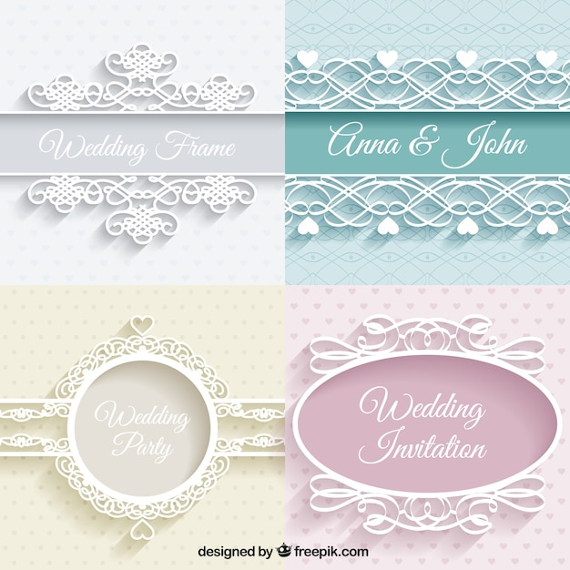 Cute weddings ornaments Free Vector
