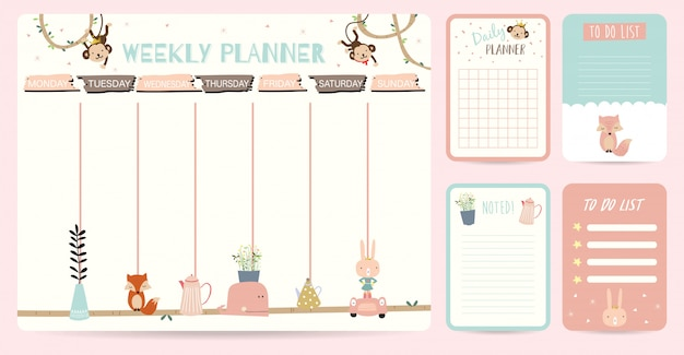 Cute weekly planner background for kid Premium Vector