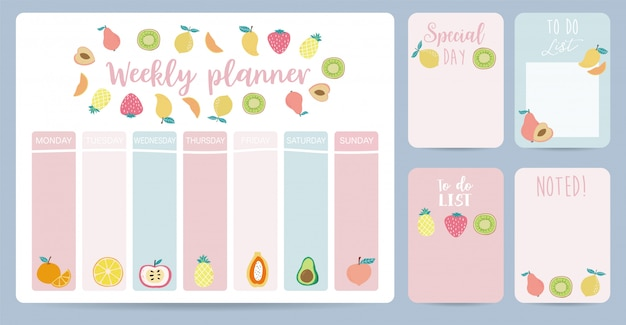 Cute weekly planner background with strawberry Premium Vector