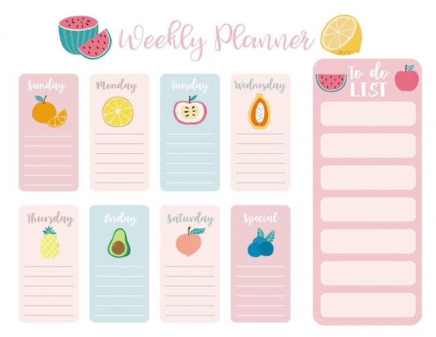 Cute weekly planner background with watermelon Premium Vector
