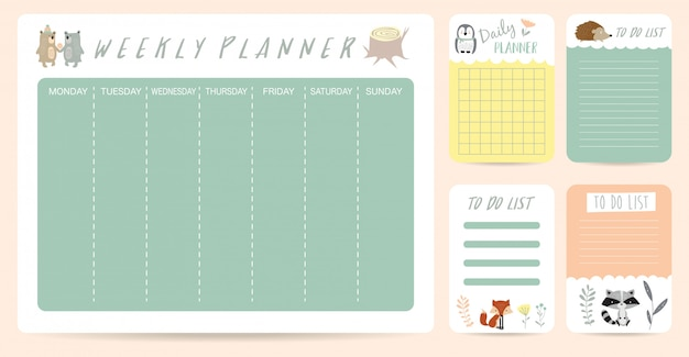 Cute weekly planner for kid with bear Premium Vector