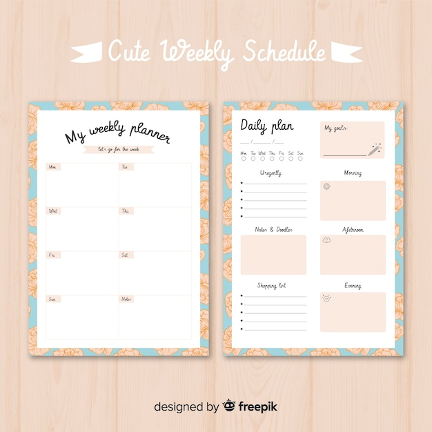 graphic regarding Free Weekly Planner Printables titled Adorable weekly planner template with vibrant structure Vector