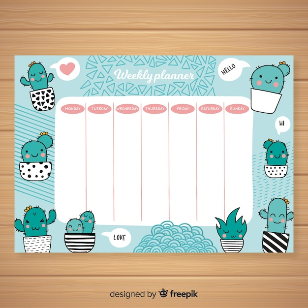 Cute Weekly Planner Template With Colorful Design Free Vector