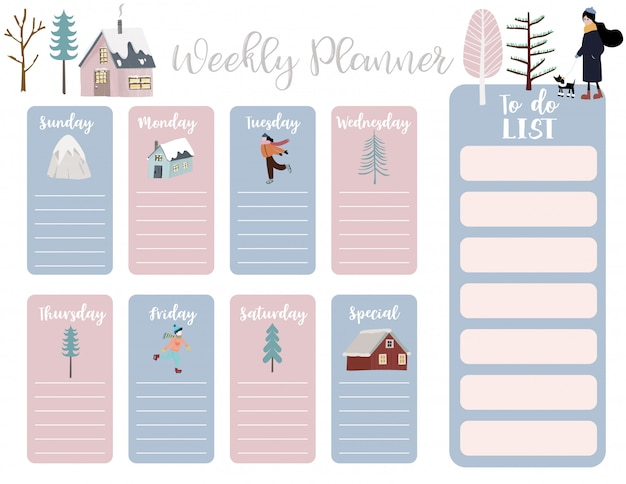Cute weekly planner with house, snow, people, tree. Premium Vector