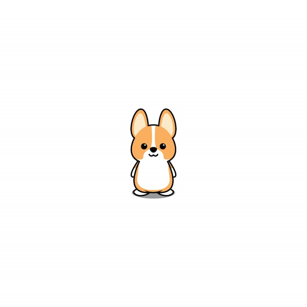 Cute Welsh Corgi Puppy Cartoon Premium Vector