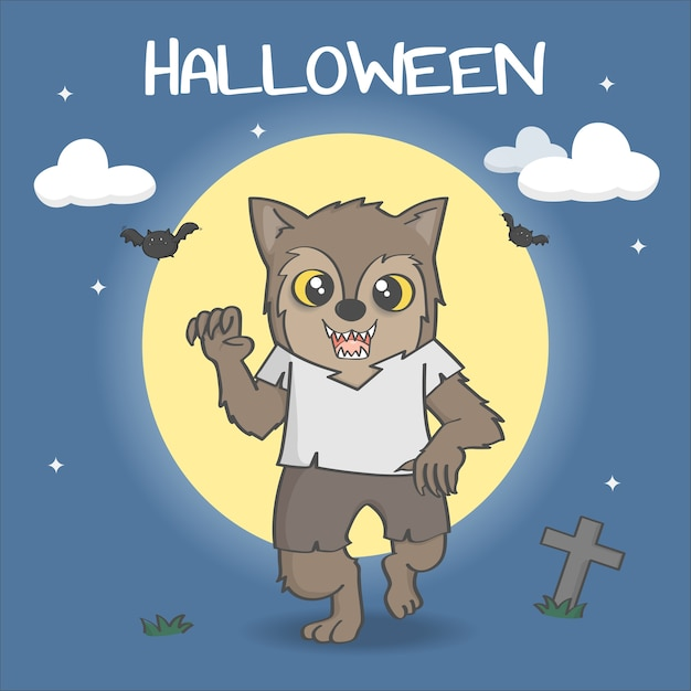 Cute werewolf and full moon background Premium Vector