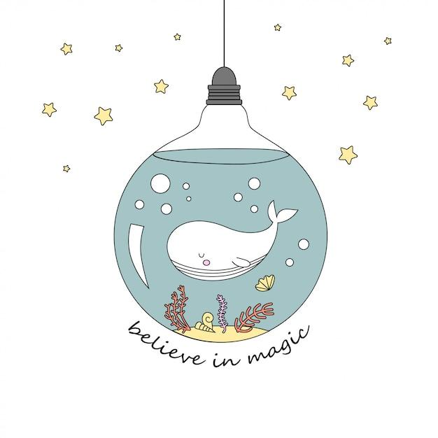 Cute whale in the bulb Premium Vector