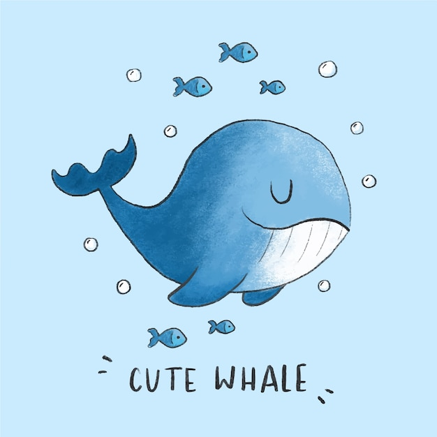 Cute whale cartoon hand drawn style Premium Vector