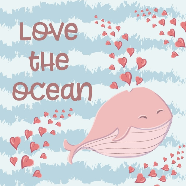 Cute whale in the sea with hearts in the style of a cartoon. Premium Vector