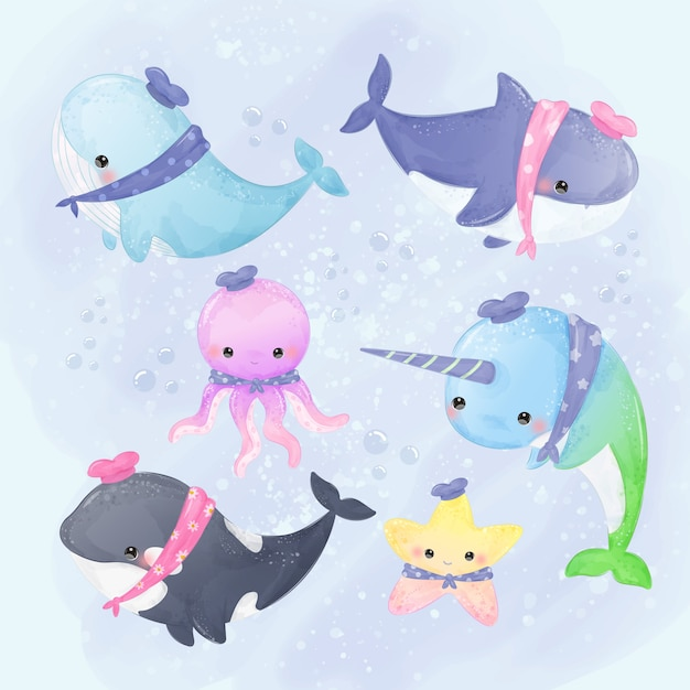 Симпатичные иллюстрации китов и морских существ в стиле акварели Premium векторы