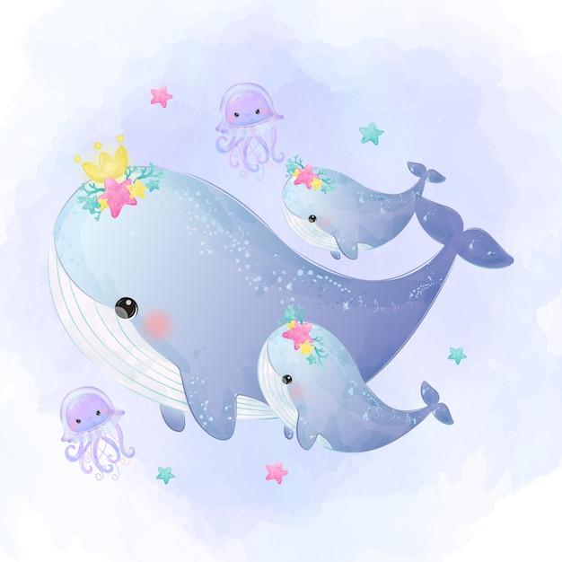 Симпатичные киты материнства акварель стиль Premium векторы