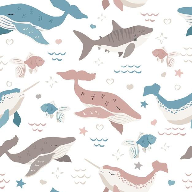 귀여운 고래 원활한 패턴 프리미엄 벡터
