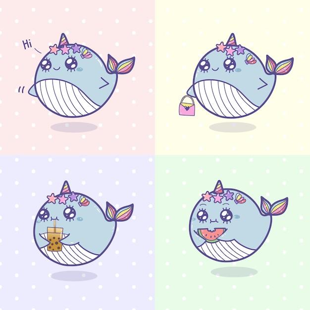Набор рисования мультфильм милый китов единорог. Premium векторы