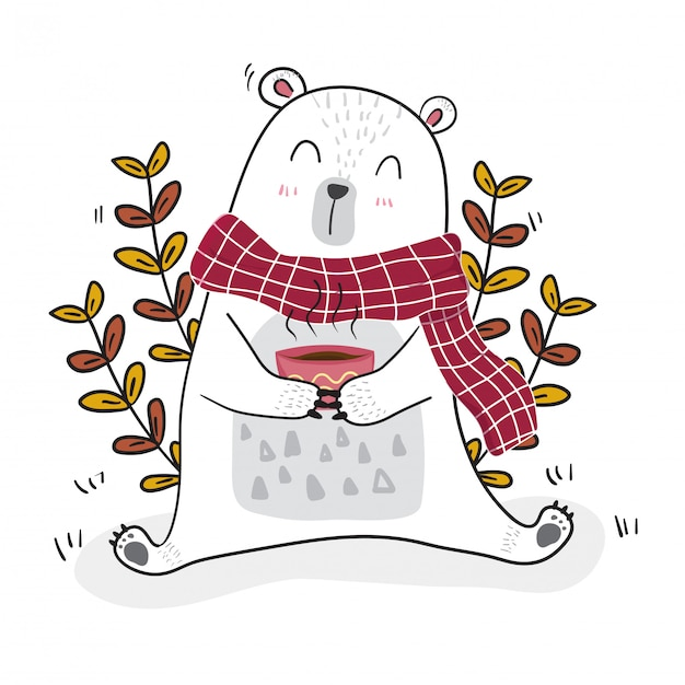 Cute white bear having coffee in spring season with a little bee Premium Vector