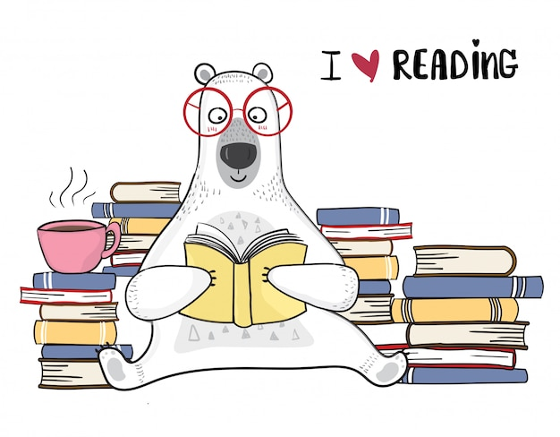 Cute white bear in red glasses is reading book with pile of books Premium Vector