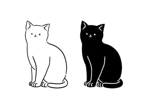 Cute White Black Cat Sitting Line Art Hand Drawn Style Illustration Premium Vector