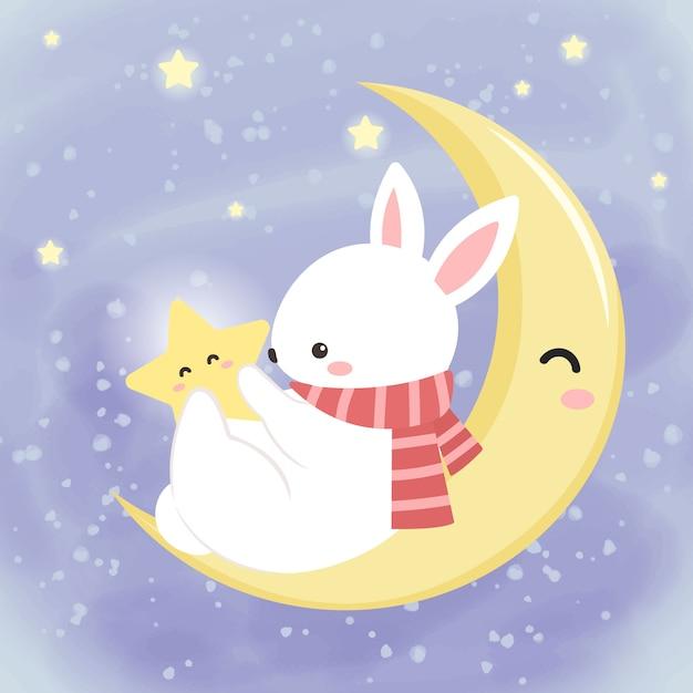 空の星と遊ぶかわいい白いウサギ Premiumベクター