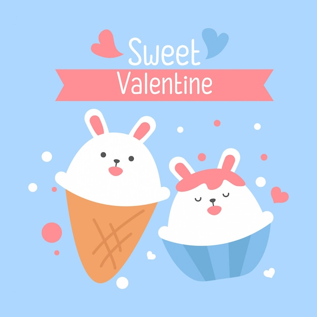 Cute white bunny of square gift tag, card, postcard,happy valentines day Premium Vector