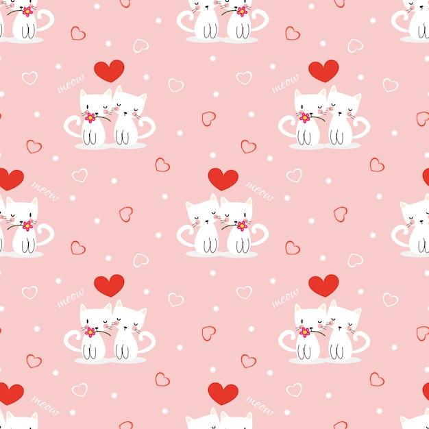 愛のシンボルのシームレスなパターンでかわいい白い猫。 Premiumベクター