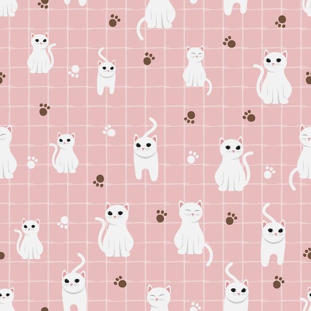 Premium Vector Cute White Cat On Pink Pastel Background Seamless Pattern Download 3,241 pastel pink background free vectors. https www freepik com profile preagreement getstarted 8899322