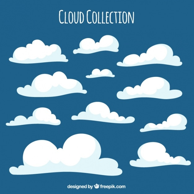 Cute white fluffy clouds Vector | Free Download