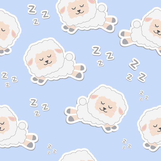 Cute White Sheep Cartoon Sleeping Seamless Pattern Wallpaper Premium Vector