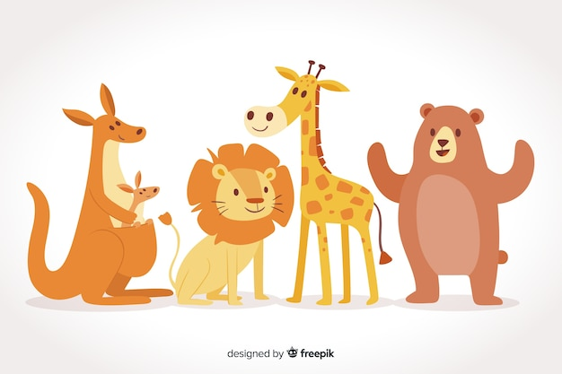 Cute wild animal collection Free Vector