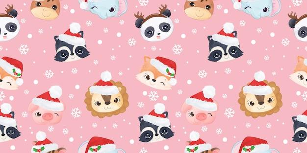 クリスマスのパターンを祝うかわいい野生動物 Premiumベクター