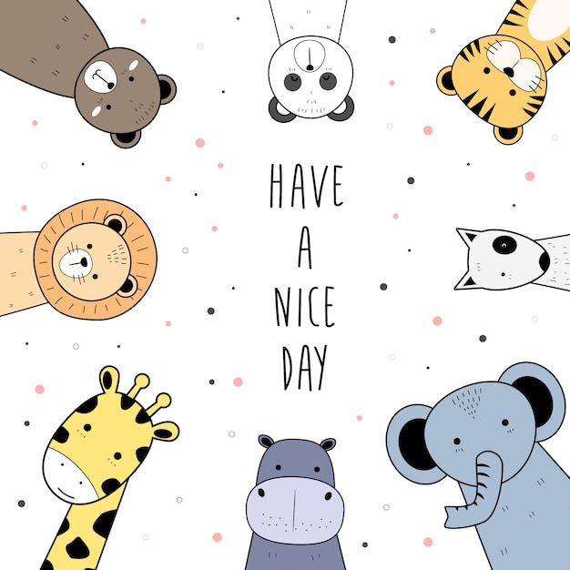 Cute wild animals greeting cartoon doodle background Premium Vector