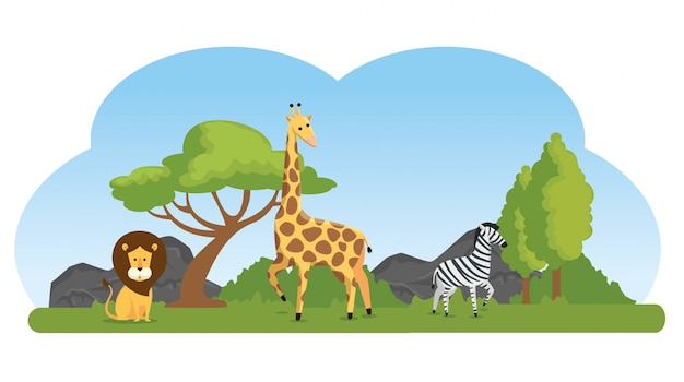Cute wild animals in the natural reserve Free Vector