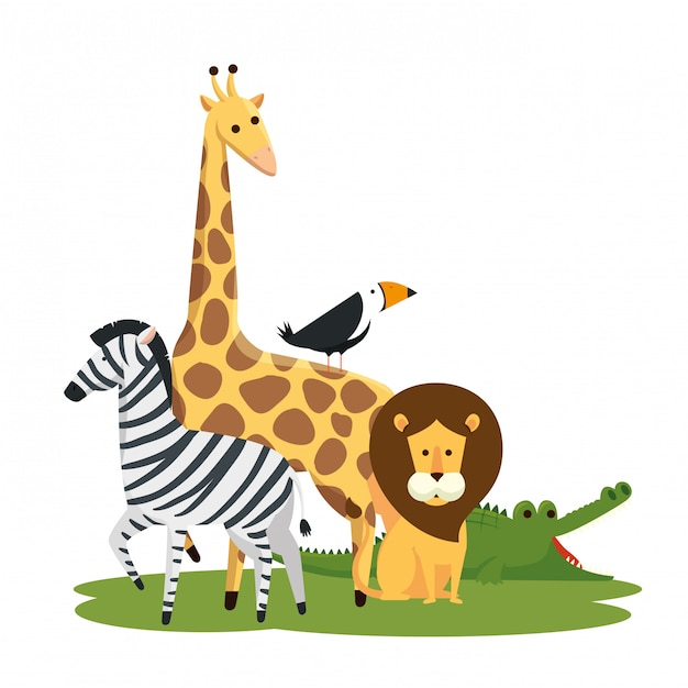 Cute wild animals in the nature reserve Free Vector