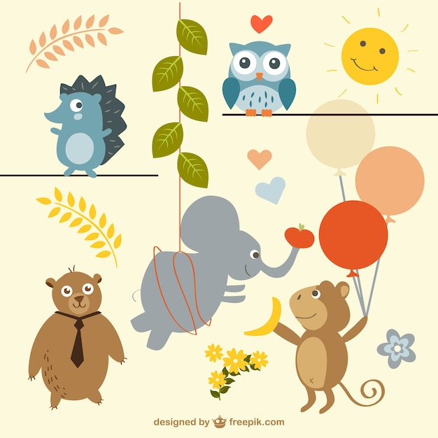 Cute wild animals partying Free Vector