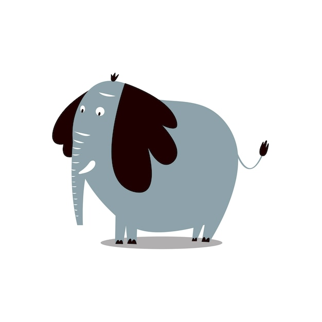 Cute wild elephant cartoon illustration Free Vector