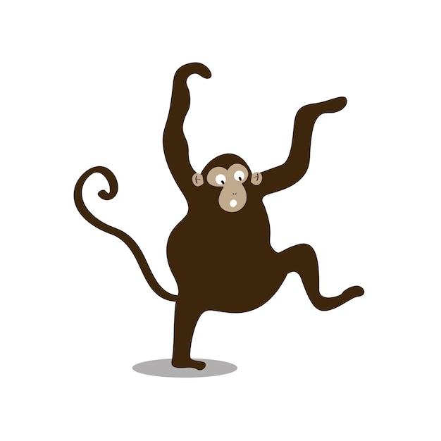 Cute wild monkey cartoon illustration Free Vector