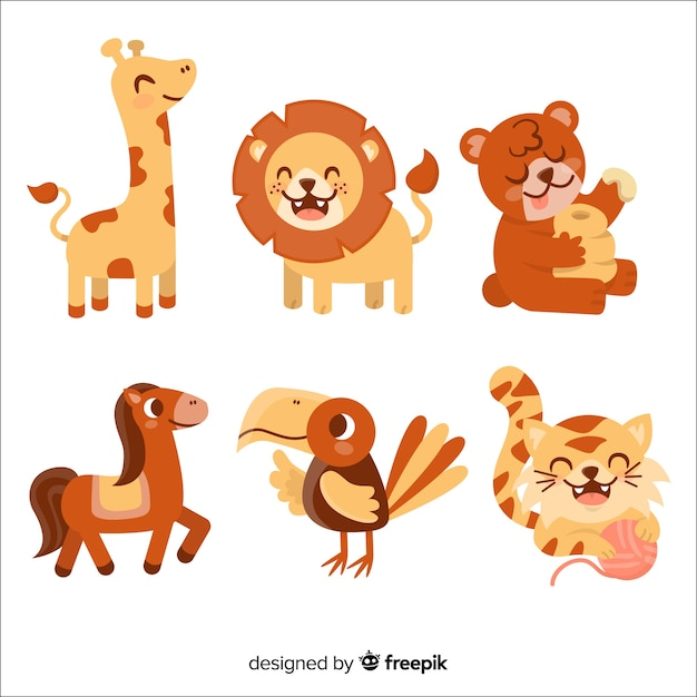 Cute wildlife animal collection Free Vector