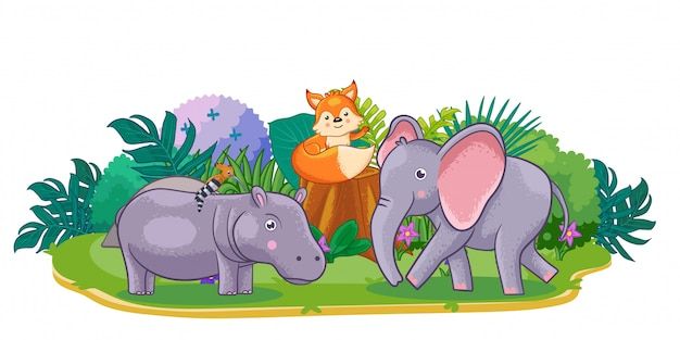 Cute wilds animals are playing in the garden Premium Vector