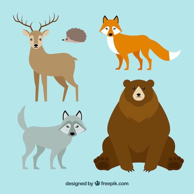 かわいい冬の動物コレクション 無料ベクター