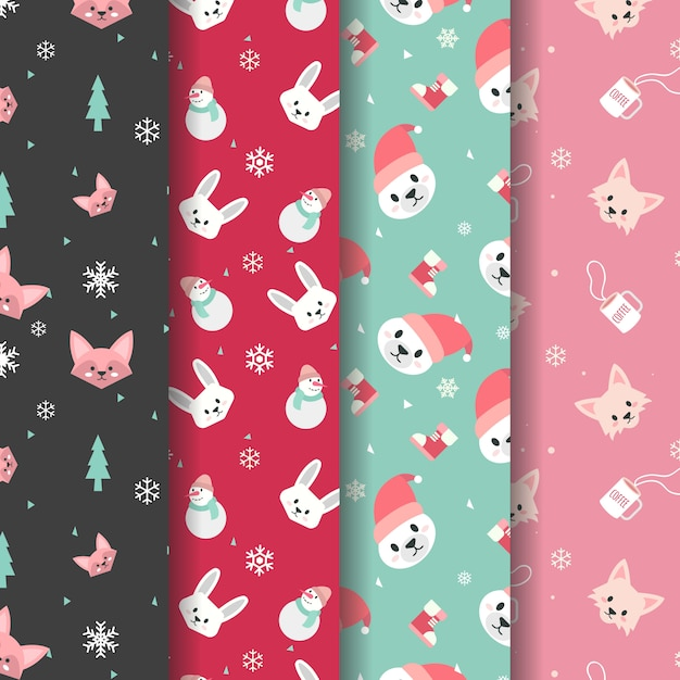 Cute winter animal head pattern Premium Vector