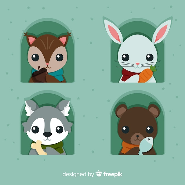 Cute winter animal pack Free Vector