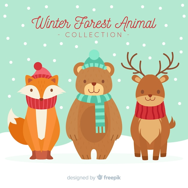 Cute winter animals background Free Vector