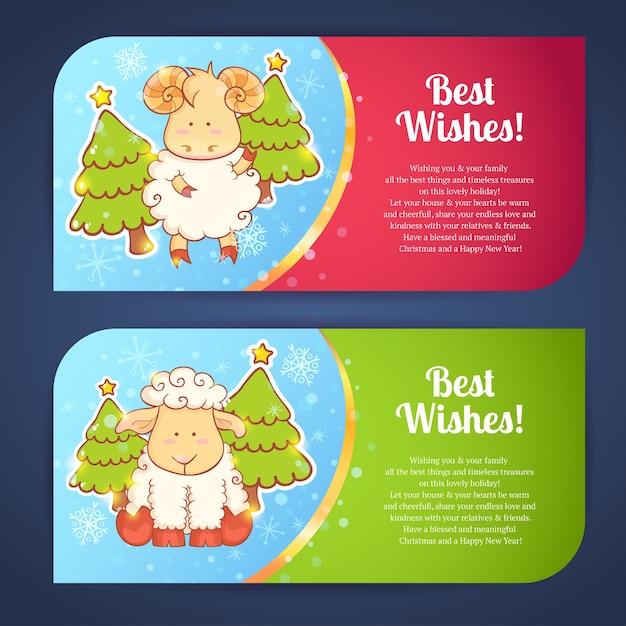 Cute winter chinese new year card Premium Vector