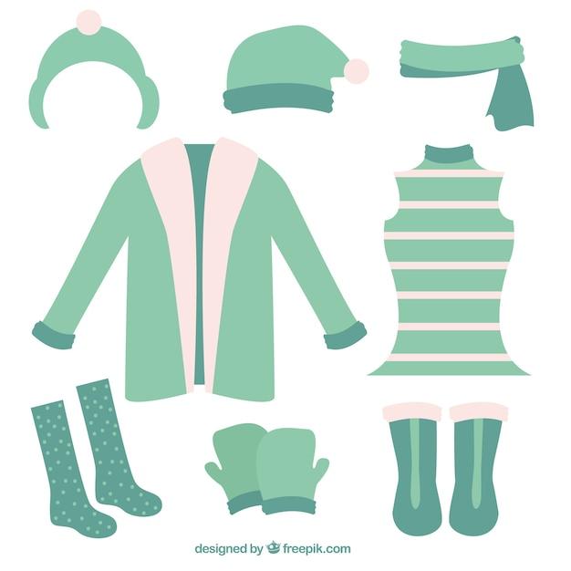 Abbigliamento invernale sveglie impostate Vettore gratuito