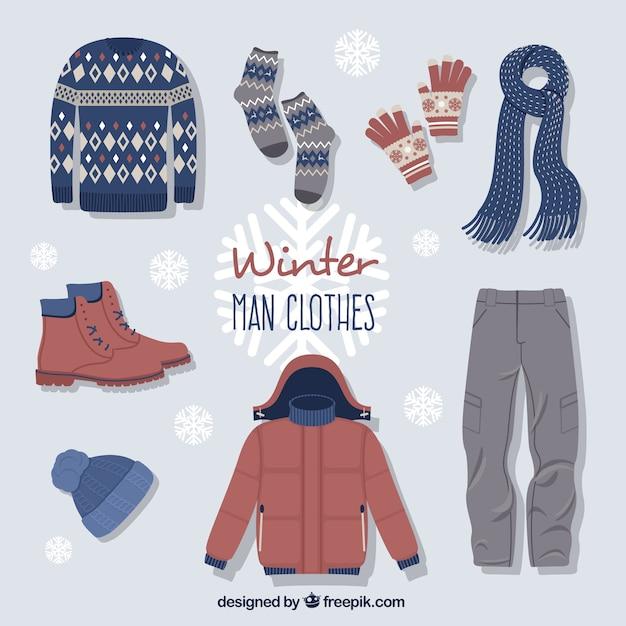 Cute winter clothes with accessories Free Vector