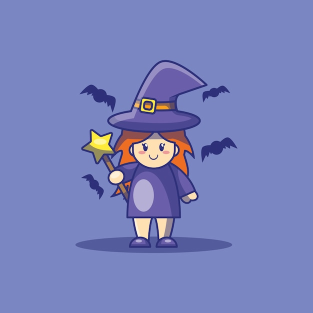 Милая ведьма и летучая мышь иллюстрации шаржа. хэллоуин значок концепции. Premium векторы
