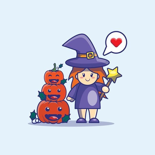 Милая ведьма и тыква иллюстрации шаржа. хэллоуин значок концепции. Premium векторы