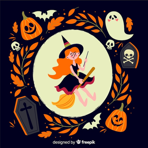 Cute witch flat hallowen background Free Vector