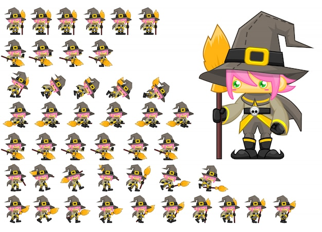 Cute witch game sprites Premium Vector
