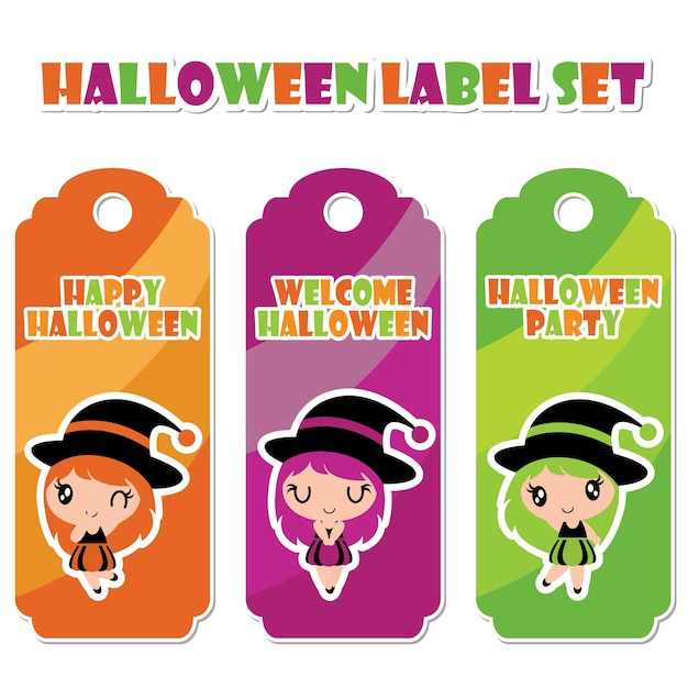 Cute Witch Girl On Witch Hat Frame On Striped Background Vector